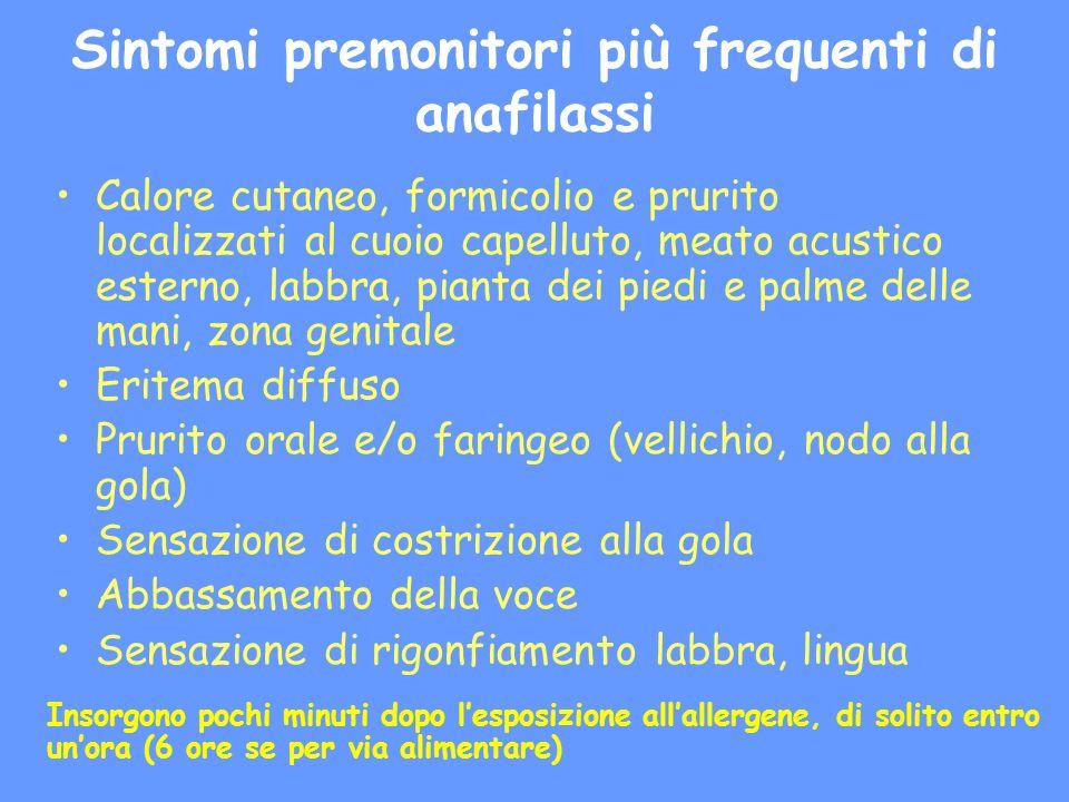 Sintomi premonitori più frequenti di anafilassi