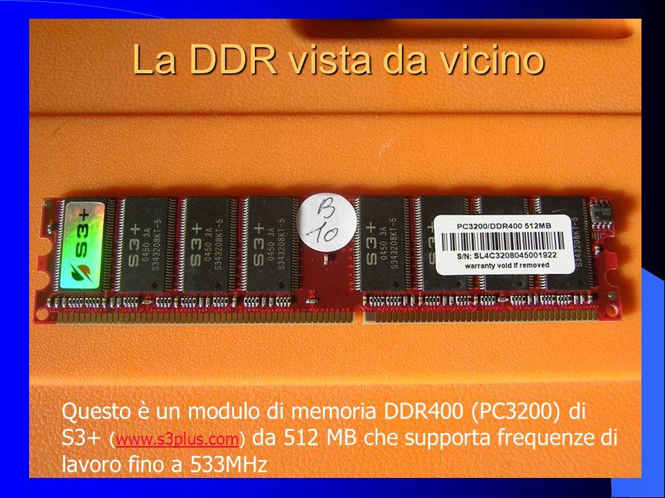 La DDR vista da vicino Questo è un modulo di memoria DDR400 (PC3200) di S3+ (www.s3plus.com) da 512 MB che supporta frequenze di lavoro fino a 533MHz.