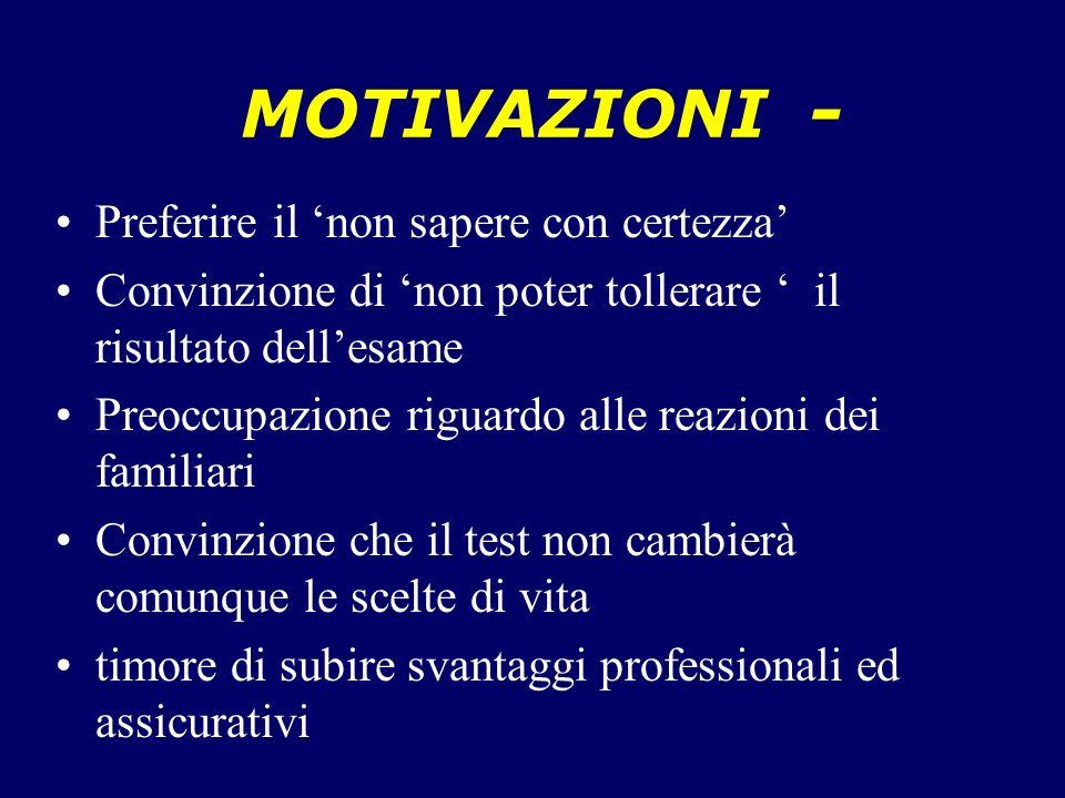 MOTIVAZIONI - Preferire il 'non sapere con certezza'