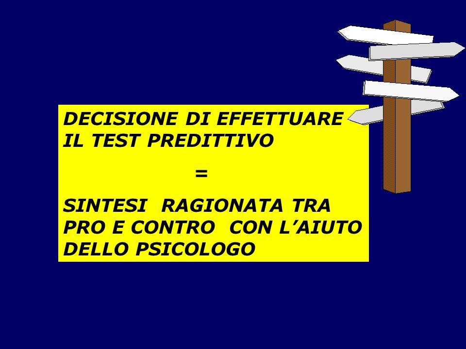 DECISIONE DI EFFETTUARE IL TEST PREDITTIVO