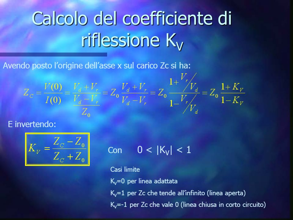 Calcolo del coefficiente di riflessione KV