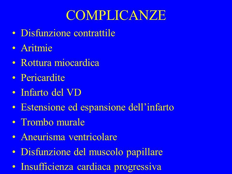 COMPLICANZE Disfunzione contrattile Aritmie Rottura miocardica