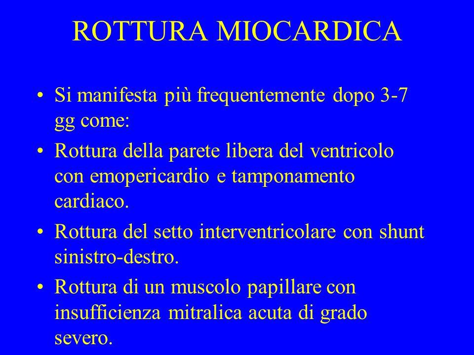 ROTTURA MIOCARDICA Si manifesta più frequentemente dopo 3-7 gg come: