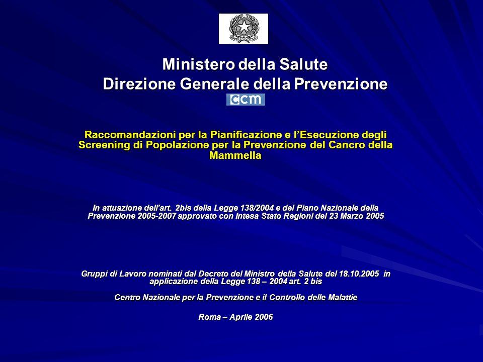 Ministero della Salute Direzione Generale della Prevenzione