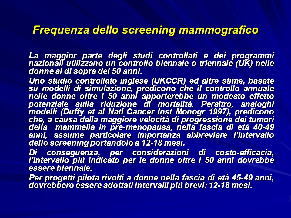 Frequenza dello screening mammografico