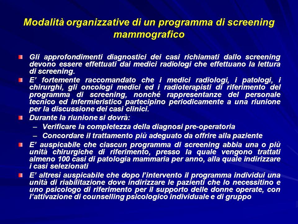 Modalità organizzative di un programma di screening mammografico