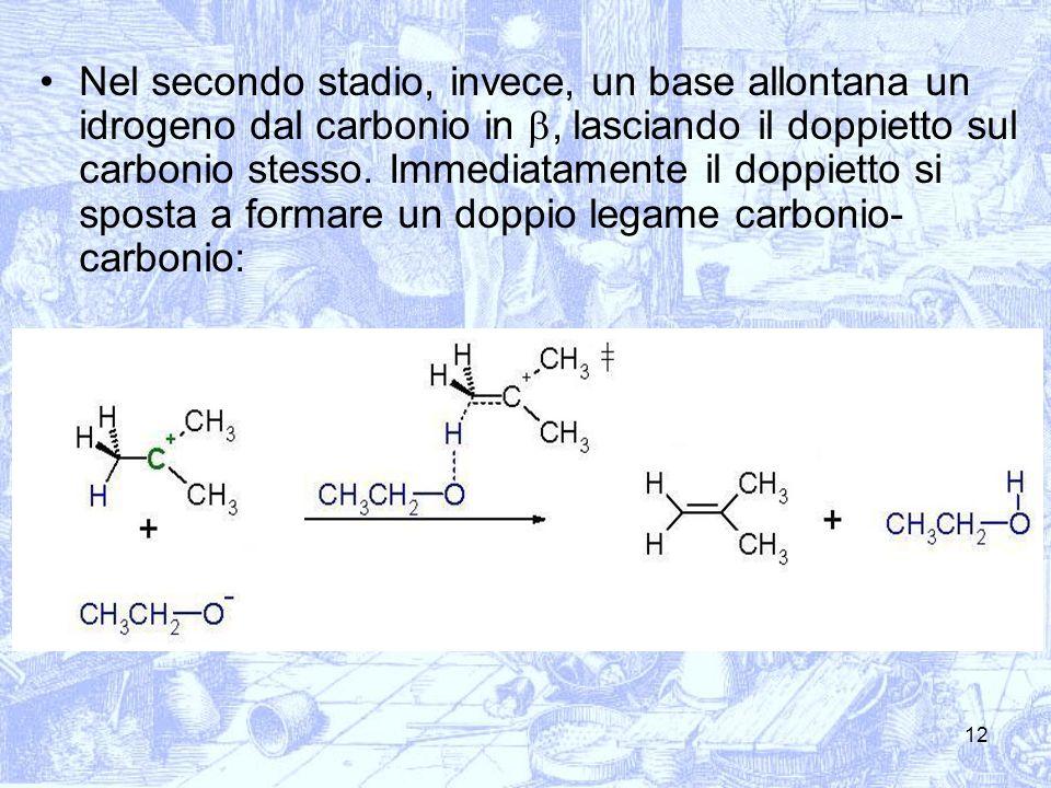 Nel secondo stadio, invece, un base allontana un idrogeno dal carbonio in b, lasciando il doppietto sul carbonio stesso.