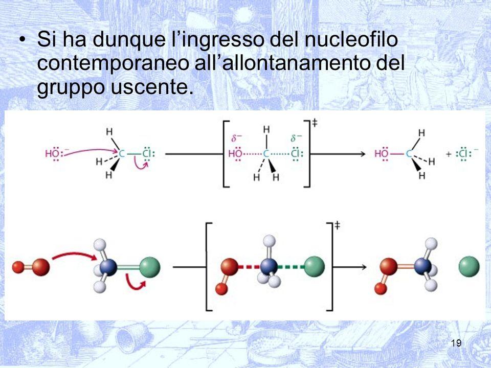 Si ha dunque l'ingresso del nucleofilo contemporaneo all'allontanamento del gruppo uscente.