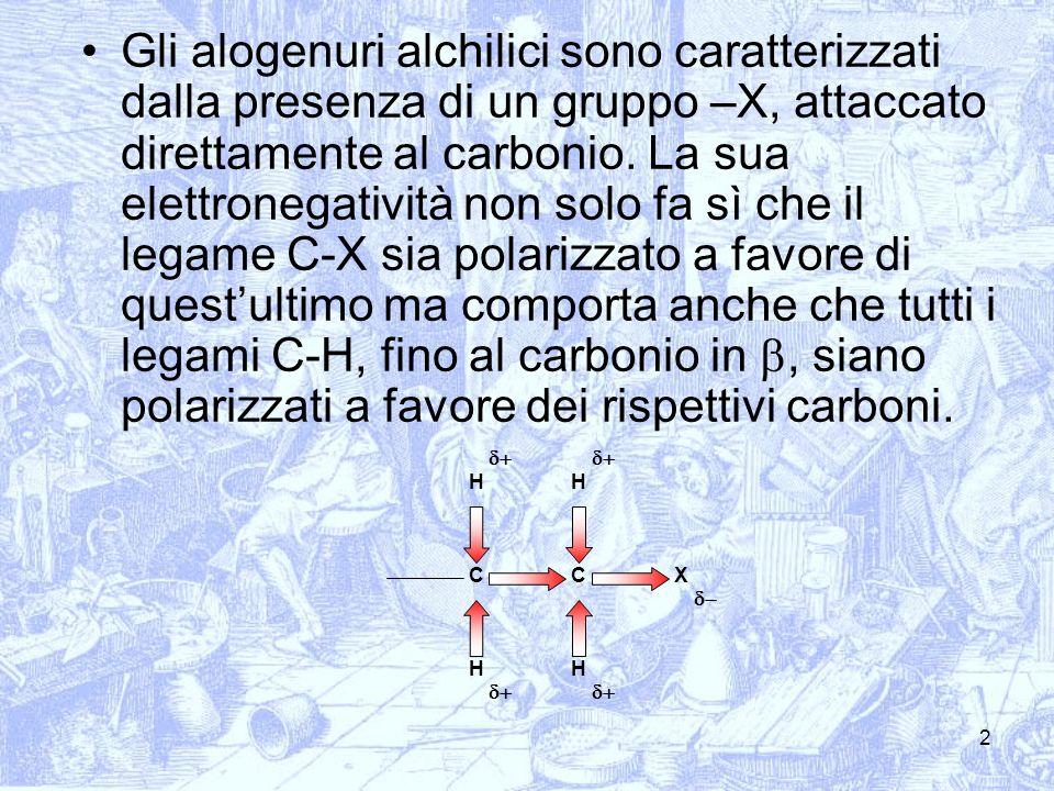 Gli alogenuri alchilici sono caratterizzati dalla presenza di un gruppo –X, attaccato direttamente al carbonio. La sua elettronegatività non solo fa sì che il legame C-X sia polarizzato a favore di quest'ultimo ma comporta anche che tutti i legami C-H, fino al carbonio in b, siano polarizzati a favore dei rispettivi carboni.