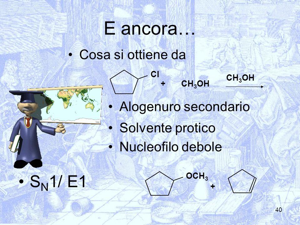E ancora… SN1/ E1 Cosa si ottiene da Alogenuro secondario