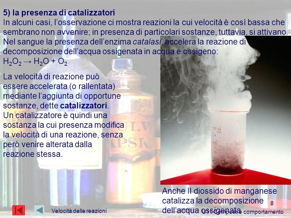 5) la presenza di catalizzatori