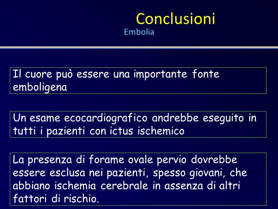 Conclusioni Embolia Il cuore può essere una importante fonte emboligena.