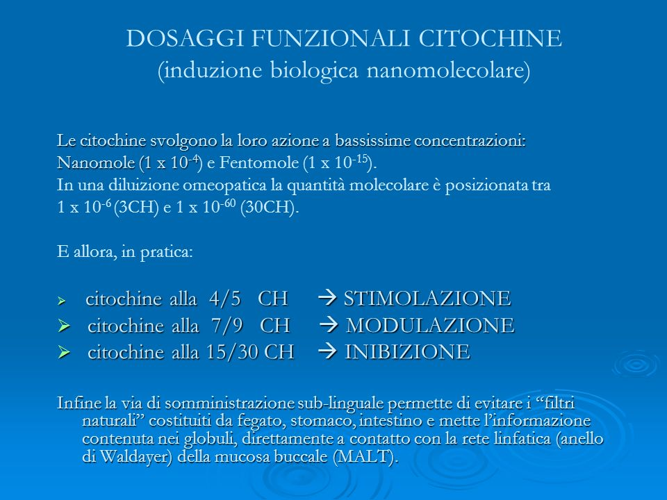 DOSAGGI FUNZIONALI CITOCHINE (induzione biologica nanomolecolare)