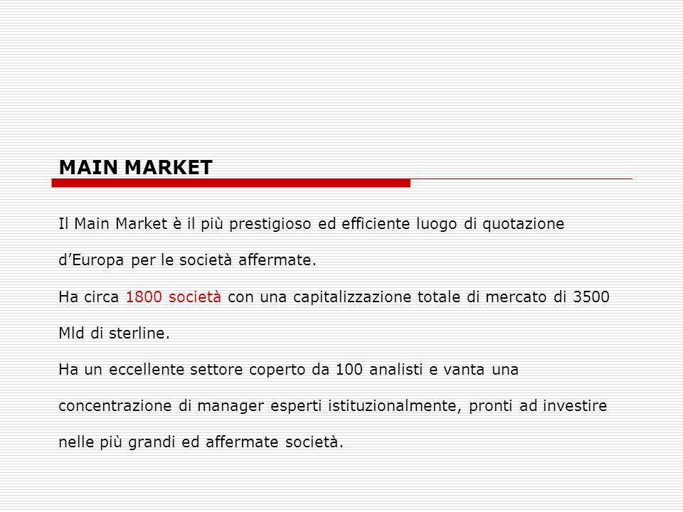 MAIN MARKETIl Main Market è il più prestigioso ed efficiente luogo di quotazione. d'Europa per le società affermate.