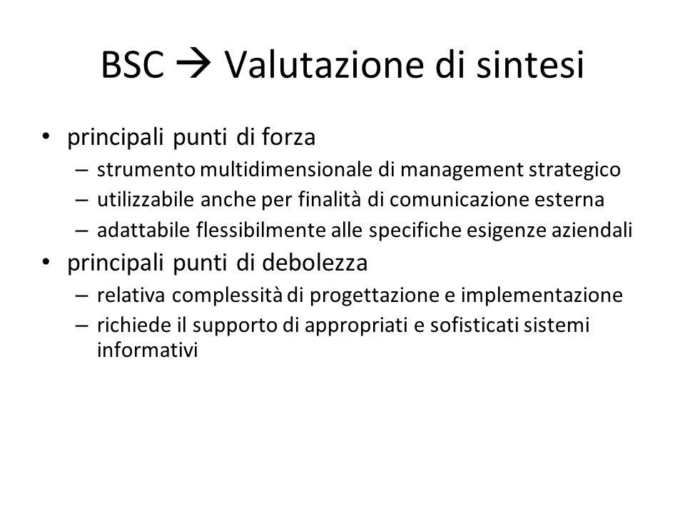BSC  Valutazione di sintesi