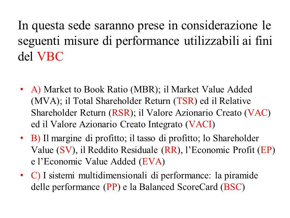 In questa sede saranno prese in considerazione le seguenti misure di performance utilizzabili ai fini del VBC