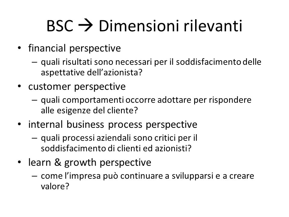 BSC  Dimensioni rilevanti