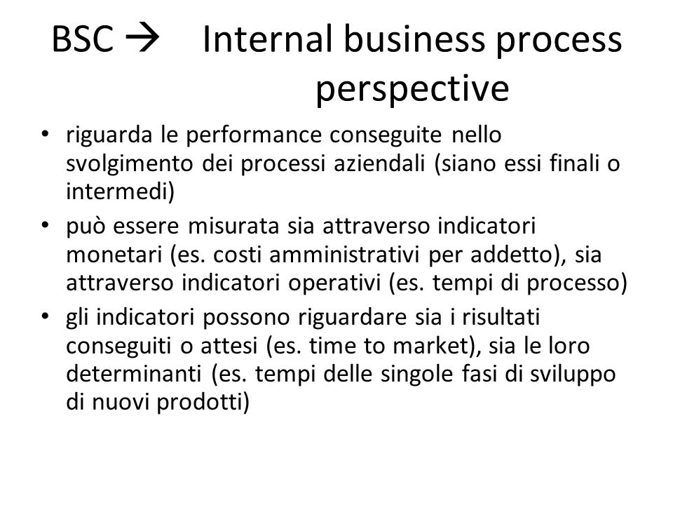 BSC  Internal business process perspective