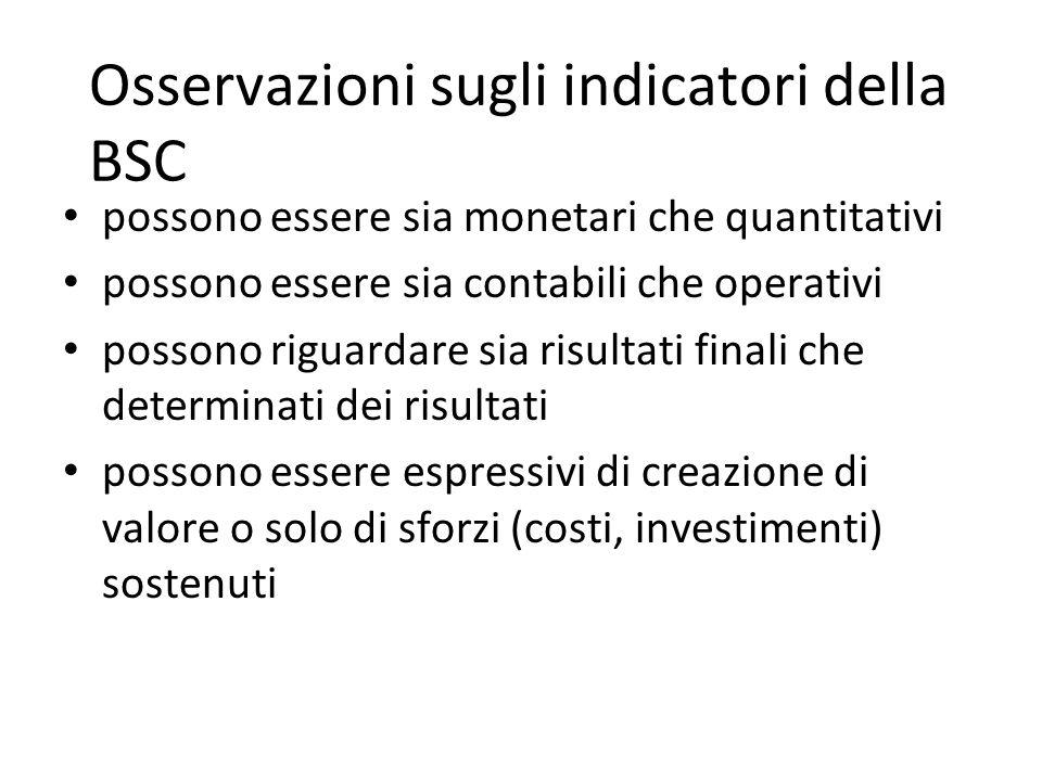 Osservazioni sugli indicatori della BSC