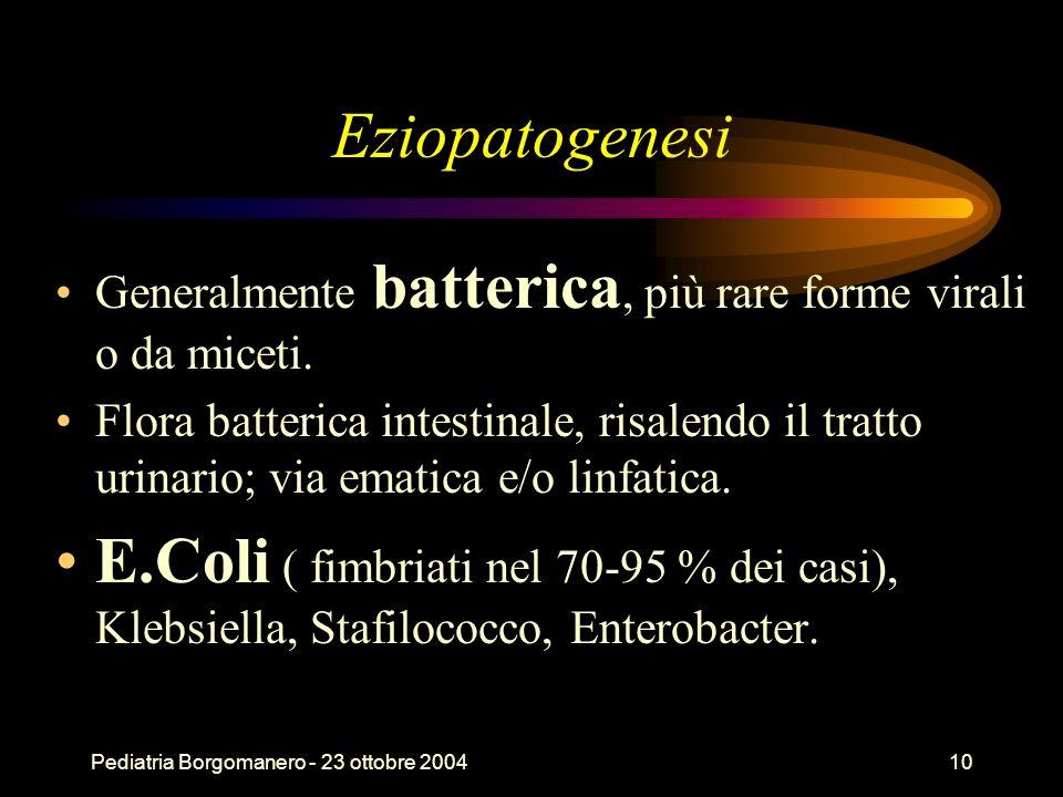 EziopatogenesiGeneralmente batterica, più rare forme virali o da miceti.