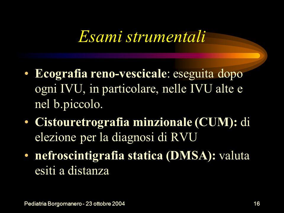 Esami strumentali Ecografia reno-vescicale: eseguita dopo ogni IVU, in particolare, nelle IVU alte e nel b.piccolo.