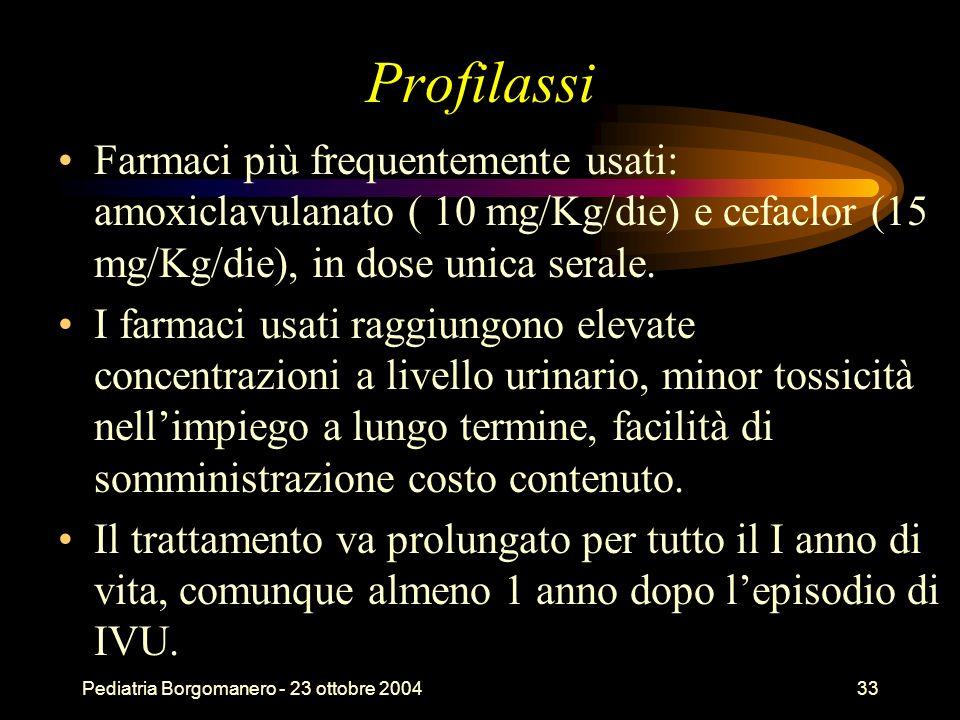ProfilassiFarmaci più frequentemente usati: amoxiclavulanato ( 10 mg/Kg/die) e cefaclor (15 mg/Kg/die), in dose unica serale.