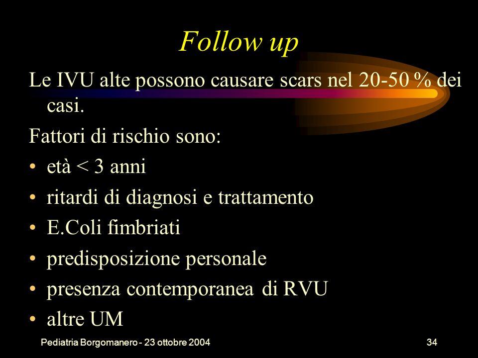Follow up Le IVU alte possono causare scars nel 20-50 % dei casi.