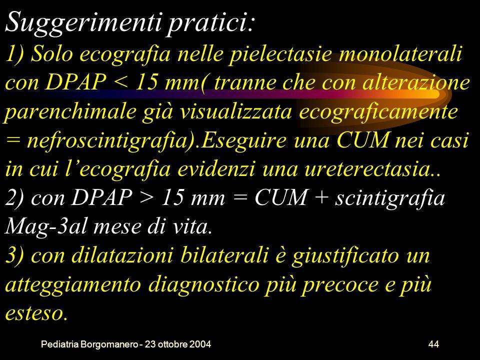 Suggerimenti pratici: 1) Solo ecografia nelle pielectasie monolaterali con DPAP < 15 mm( tranne che con alterazione parenchimale già visualizzata ecograficamente = nefroscintigrafia).Eseguire una CUM nei casi in cui l'ecografia evidenzi una ureterectasia.. 2) con DPAP > 15 mm = CUM + scintigrafia Mag-3al mese di vita. 3) con dilatazioni bilaterali è giustificato un atteggiamento diagnostico più precoce e più esteso.