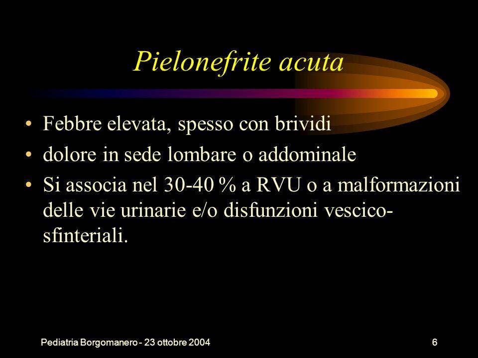 Pielonefrite acuta Febbre elevata, spesso con brividi