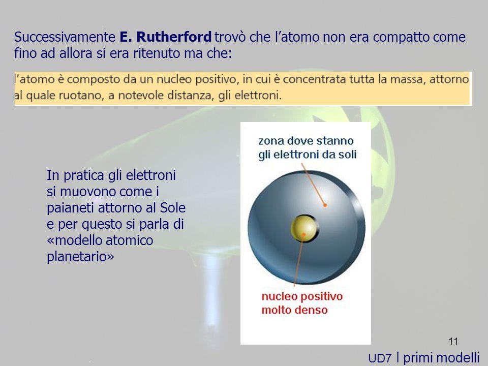 Successivamente E. Rutherford trovò che l'atomo non era compatto come fino ad allora si era ritenuto ma che: