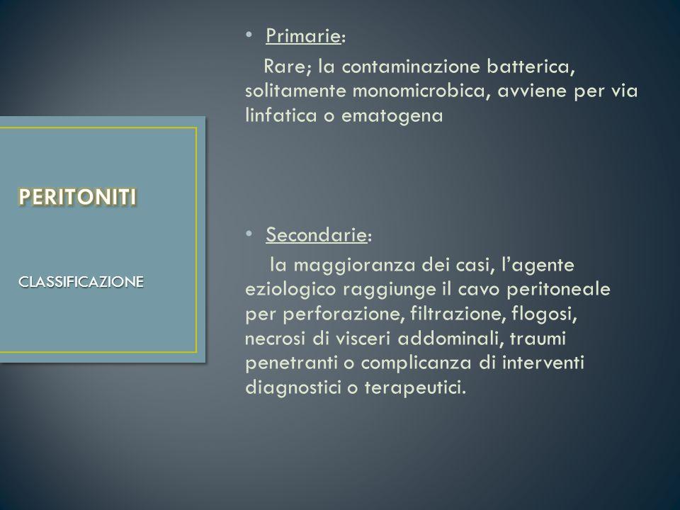 Primarie: Rare; la contaminazione batterica, solitamente monomicrobica, avviene per via linfatica o ematogena.