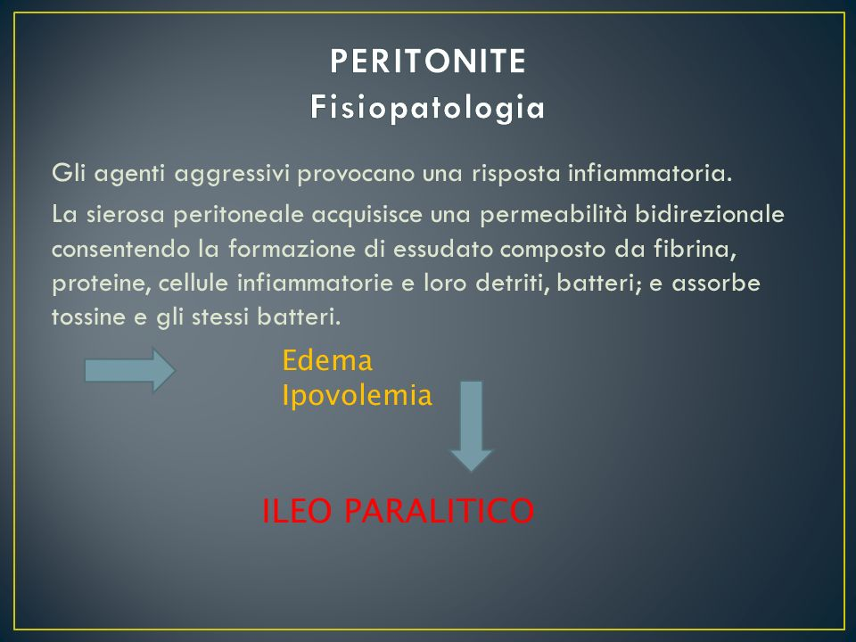 PERITONITE Fisiopatologia