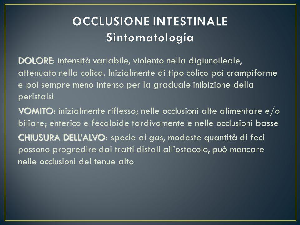 OCCLUSIONE INTESTINALE Sintomatologia