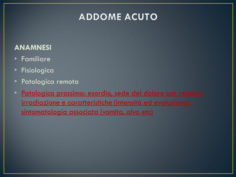 ADDOME ACUTO ANAMNESI Familiare Fisiologica Patologica remota