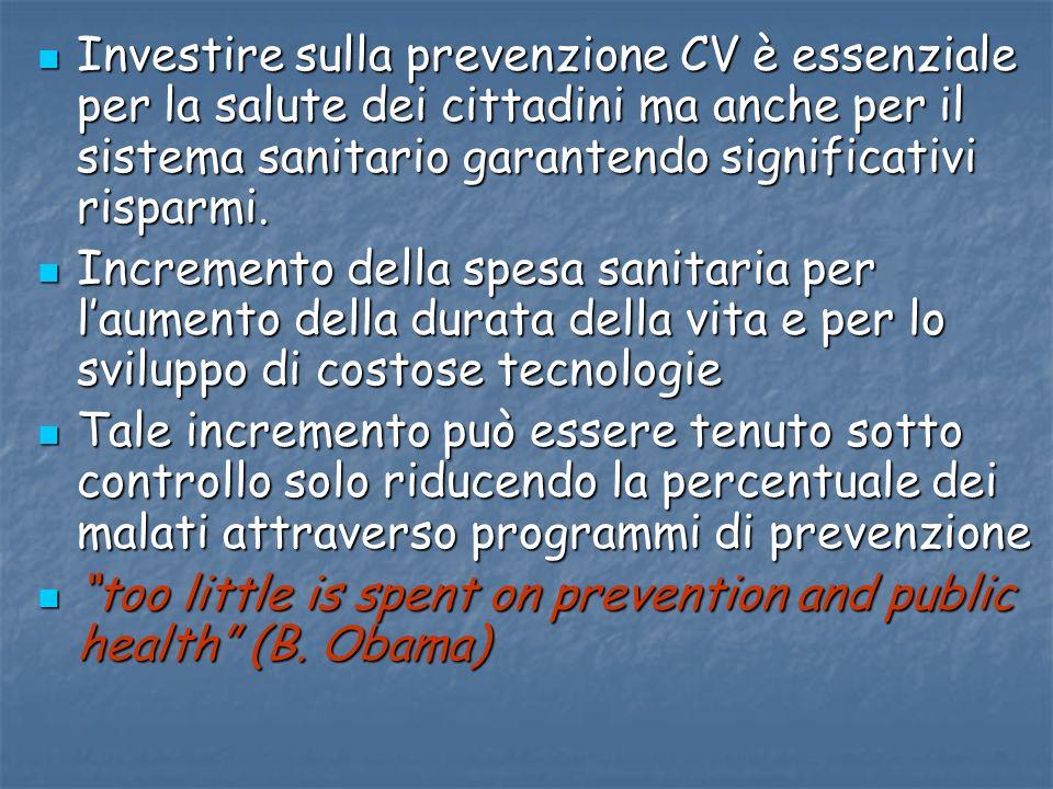 Investire sulla prevenzione CV è essenziale per la salute dei cittadini ma anche per il sistema sanitario garantendo significativi risparmi.