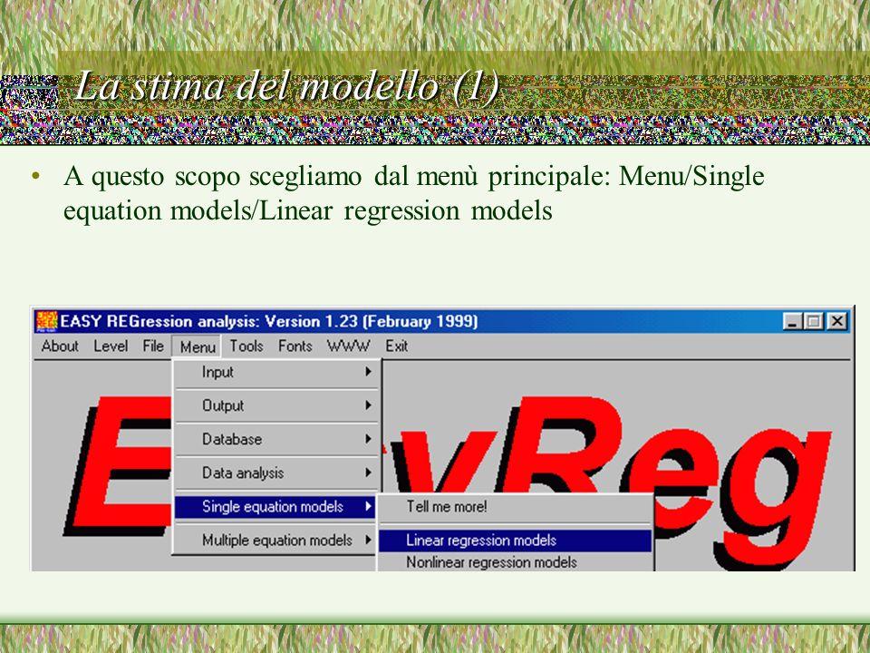 La stima del modello (1) A questo scopo scegliamo dal menù principale: Menu/Single equation models/Linear regression models.