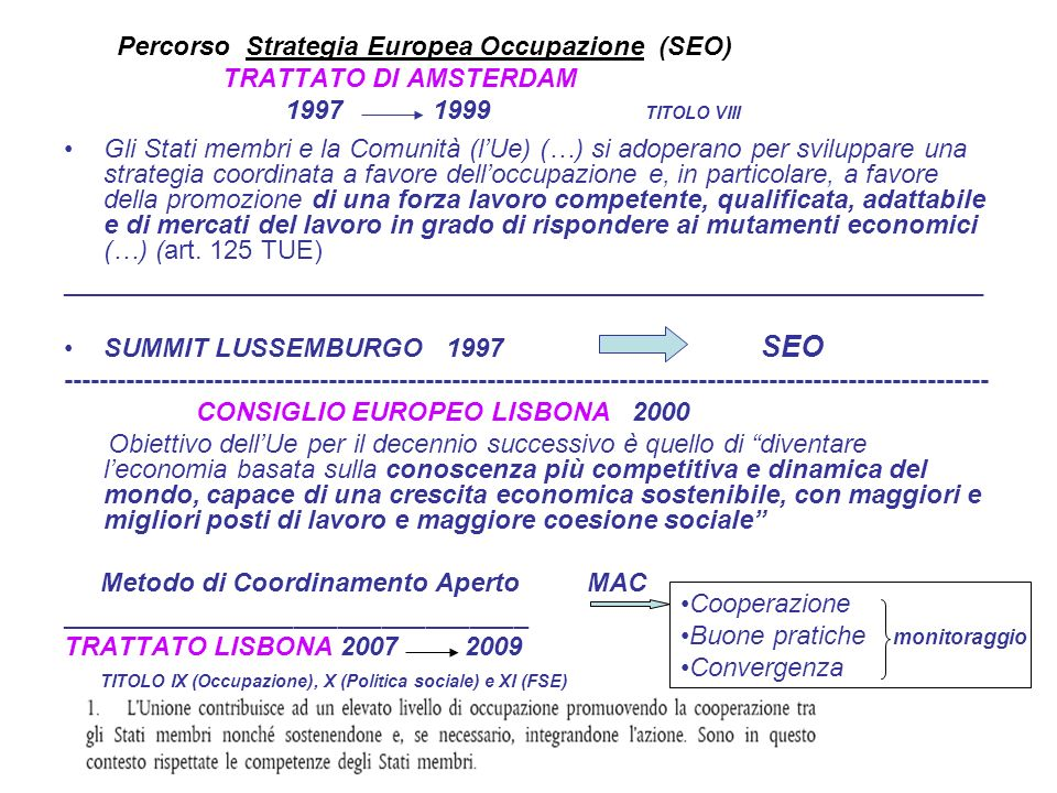 Percorso Strategia Europea Occupazione (SEO)