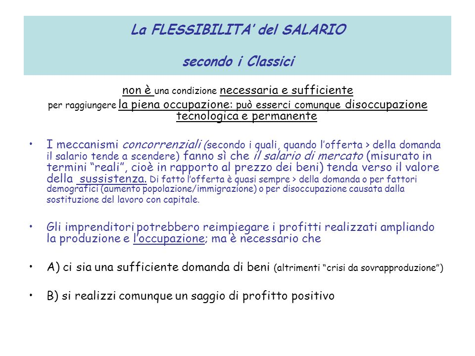 La FLESSIBILITA' del SALARIO secondo i Classici