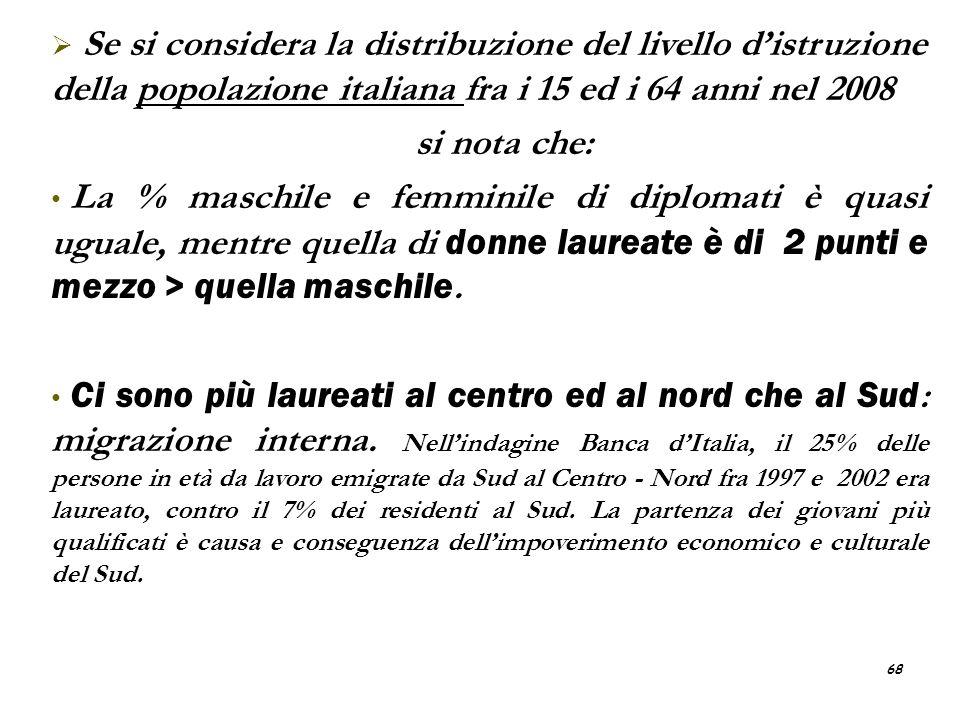 Se si considera la distribuzione del livello d'istruzione della popolazione italiana fra i 15 ed i 64 anni nel 2008