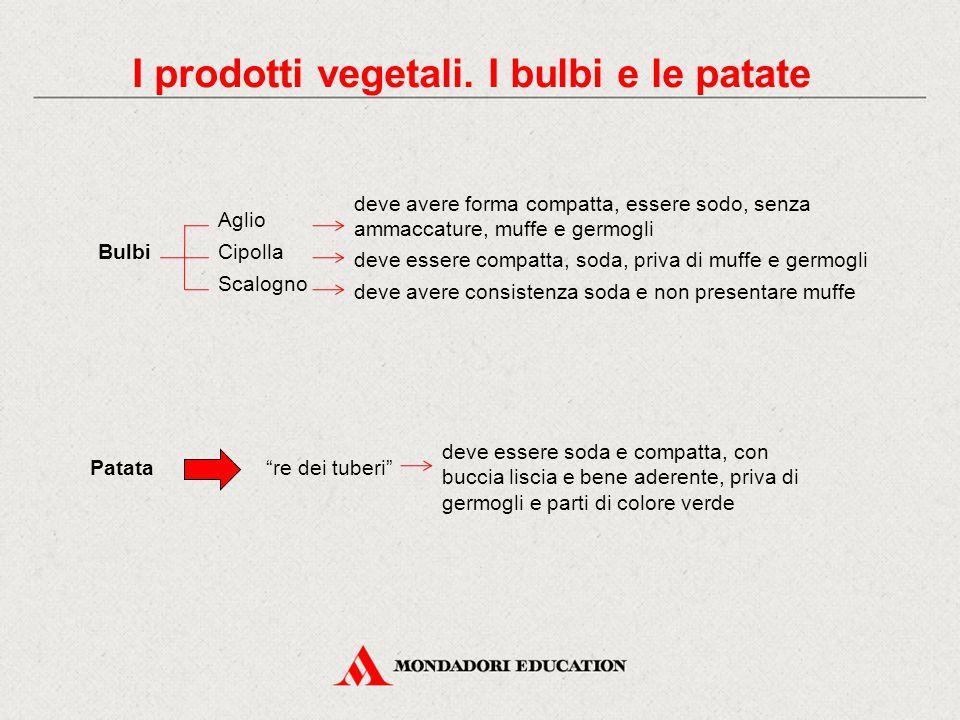 I prodotti vegetali. I bulbi e le patate