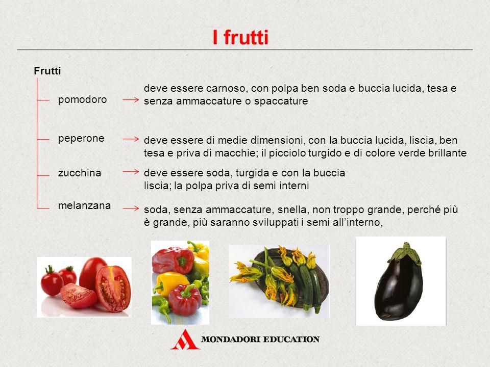I frutti Frutti. deve essere carnoso, con polpa ben soda e buccia lucida, tesa e senza ammaccature o spaccature.