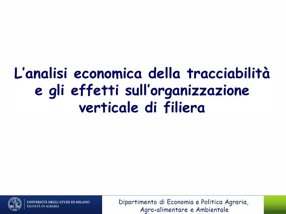 L'analisi economica della tracciabilità e gli effetti sull'organizzazione verticale di filiera