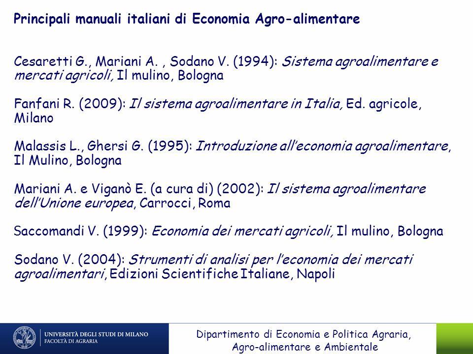 Principali manuali italiani di Economia Agro-alimentare