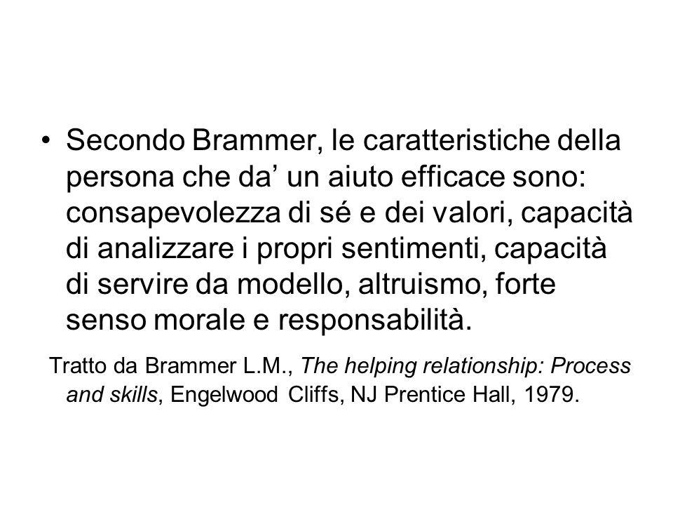 Secondo Brammer, le caratteristiche della persona che da' un aiuto efficace sono: consapevolezza di sé e dei valori, capacità di analizzare i propri sentimenti, capacità di servire da modello, altruismo, forte senso morale e responsabilità.