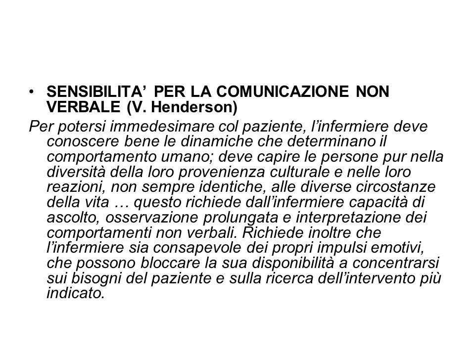 SENSIBILITA' PER LA COMUNICAZIONE NON VERBALE (V. Henderson)