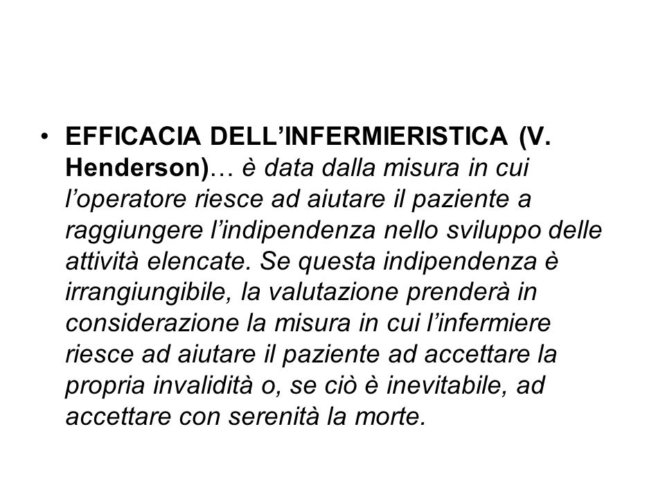 EFFICACIA DELL'INFERMIERISTICA (V