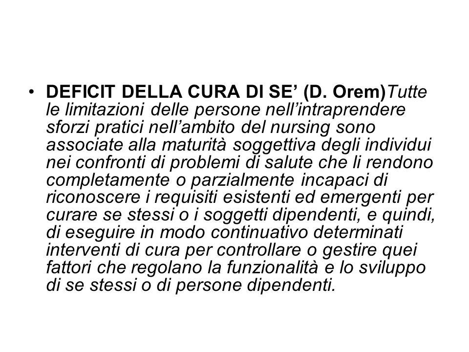 DEFICIT DELLA CURA DI SE' (D