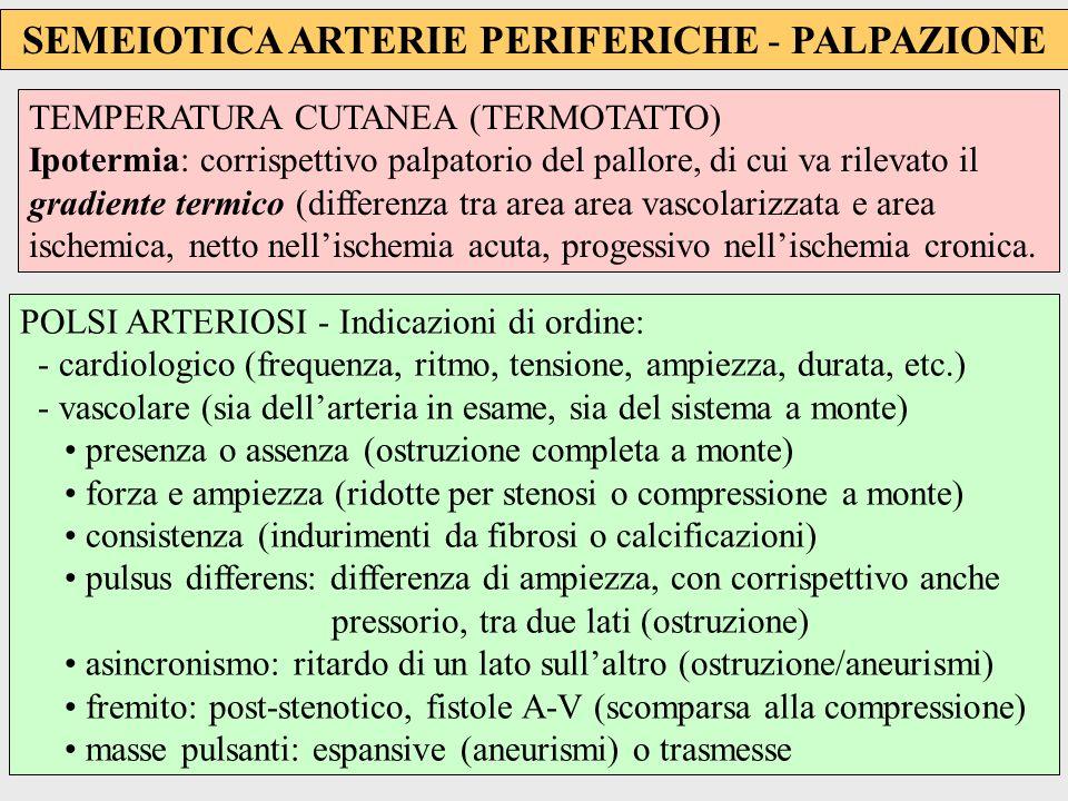 SEMEIOTICA ARTERIE PERIFERICHE - PALPAZIONE