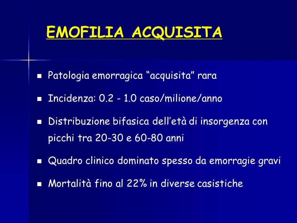 EMOFILIA ACQUISITA Patologia emorragica acquisita rara