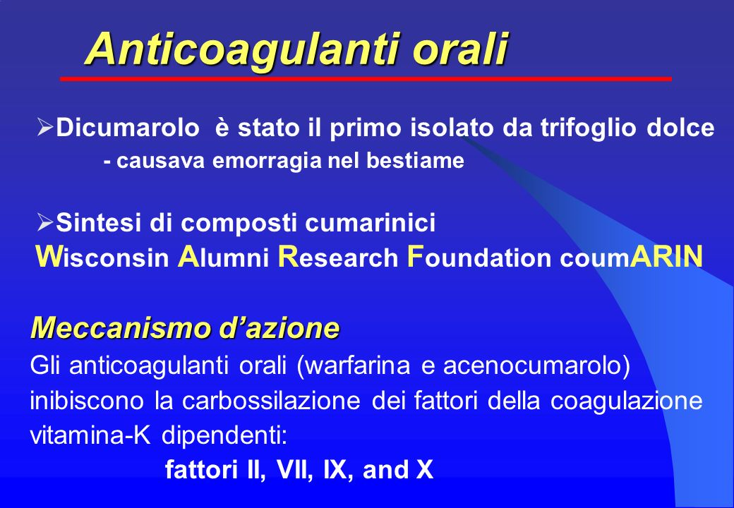 Anticoagulanti orali Wisconsin Alumni Research Foundation coumARIN
